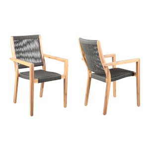 Madsen Eucalyptus Charcoal Gray Outdoor Dining Chair, Set of Two
