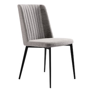Maine Gray with Matte Black Dining Chair, Set of Two