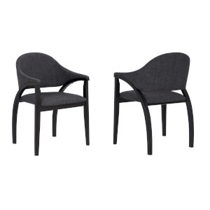 Meadow Charcoal with Black Dining Chair, Set of Two