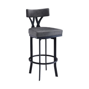 Natalie Black and Vintage Gray 26-Inch Counter Stool