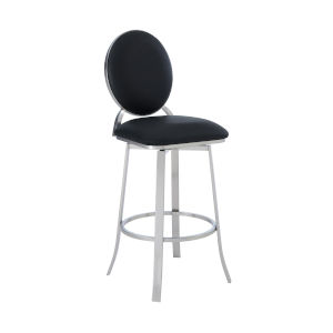 Pia Black and Stainless Steel 30-Inch Bar Stool