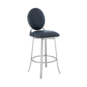 Pia Gray and Stainless Steel 30-Inch Bar Stool