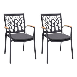 Portals Black Outdoor Dining Chair, Set of Two