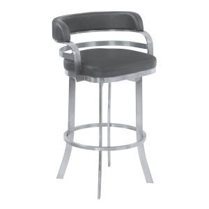 Prinz Gray and Stainless Steel 30-Inch Bar Stool