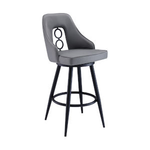 Ruby Black and Gray 30-Inch Bar Stool