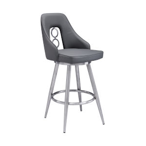 Ruby Gray and Stainless Steel 30-Inch Bar Stool