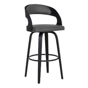 Shelly Black and Gray 30-Inch Bar Stool