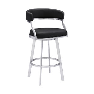 Saturn Black and Stainless Steel 30-Inch Bar Stool