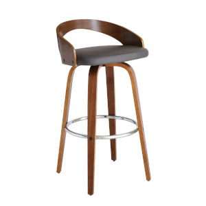 Sonia Walnut and Gray 30-Inch Bar Stool