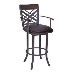 Tahiti Brown and Auburn Bay 30-Inch Bar Stool with Arms
