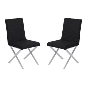 Tempe Black with Brushed Stainless Steel Dining Chair, Set of Two