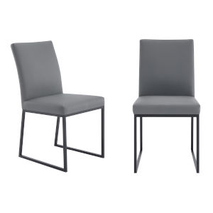 Trevor Gray with Matte Black Dining Chair, Set of Two