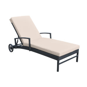 Vida Black Outdoor Wicker Lounge Chair