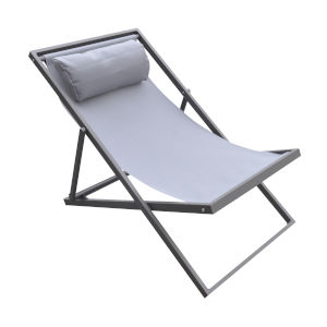 Wave Gray Outdoor Patio Lounge Chair