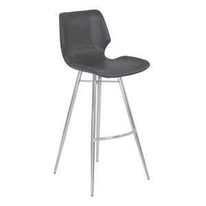 Zurich Vintage Gray and Stainless Steel 26-Inch Counter Stool