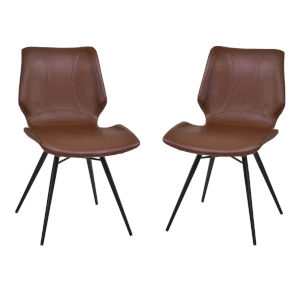 Zurich Vintage Coffee with Matte Black Dining Chair, Set of Two