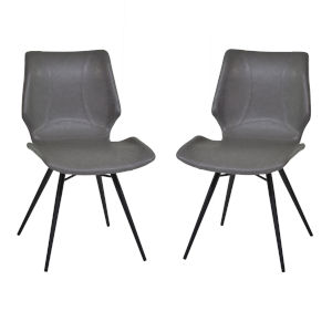 Zurich Vintage Gray with Matte Black Dining Chair, Set of Two