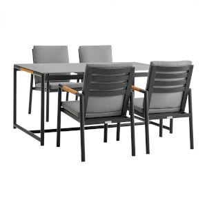 Crown Black Five-Piece Outdoor Dining Set