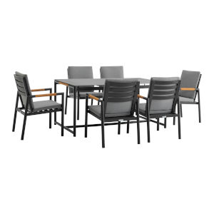 Crown Black Seven-Piece Outdoor Dining Set