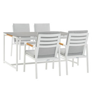 Crown White Five-Piece Outdoor Dining Set