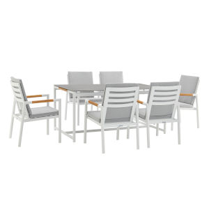 Crown White Seven-Piece Outdoor Dining Set