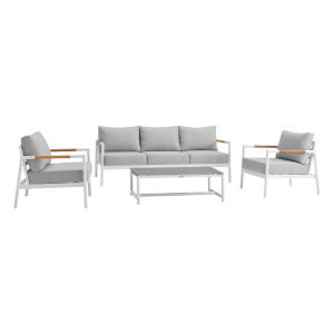 Crown White Four-Piece Outdoor Four-Piece Conversation Set