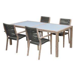Sienna Gray Teak Five-Piece Outdoor Dining Set