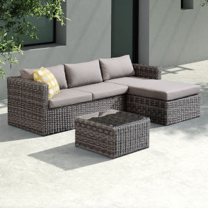 Hagen Brown Outdoor Rattan Sectional Chase Set, 3 Piece