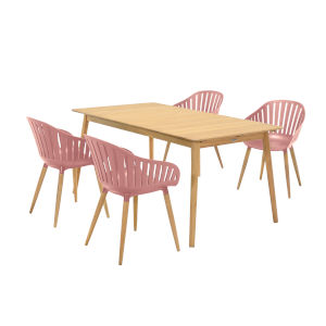Nassau Pink Peony Five-Piece Outdoor Dining Set