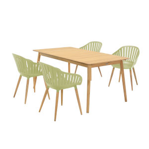 Nassau Sage Green Five-Piece Outdoor Dining Set