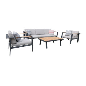 Nofi Charcoal Outdoor Patio Set, 4 Piece