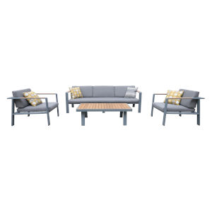 Nofi Gray Outdoor Patio Set, 4 Piece