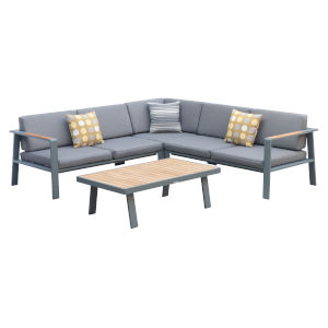 Nofi Gray Outdoor Patio Sectional Set
