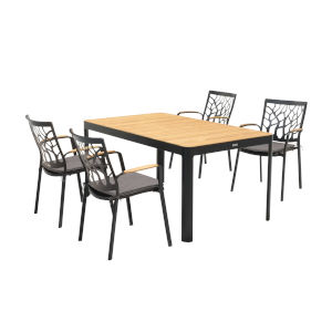 Portals Black Teak Five-Piece Outdoor Dining Set