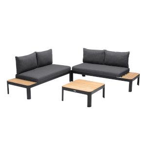 Portals Teak Black Three-Piece Outdoor Furniture Set