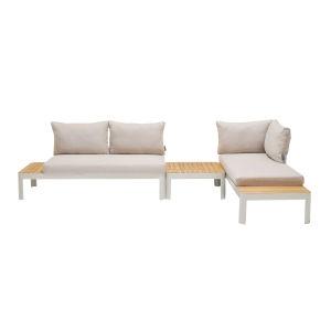 Portals Teak Matte Sand Three-Piece Outdoor Furniture Set