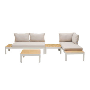 Portals Teak Matte Sand Four-Piece Outdoor Furniture Set