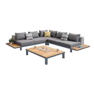 Polo Gray Powder Coat Four-Piece Outdoor Furniture Set
