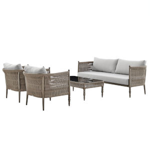 Safari Brown Hand Brushed Four-Piece Outdoor Four-Piece Conversation Set