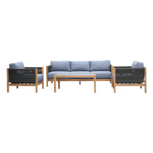 Sienna Teak Gray Four-Piece Outdoor Conversation Set