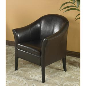 Bycast Brown Leather Club Chair