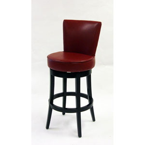Boston 30-Inch Red Bicast Leather Swivel Barstool