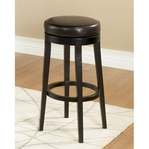 Brown 26-Inch Backless Swivel Barstool