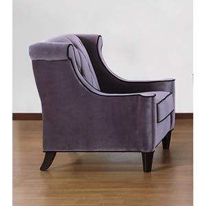 Barrister Gray Velvet with Black Piping Chair