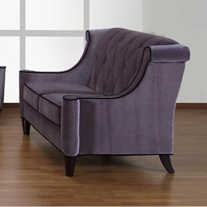 Barrister Gray Velvet with Black Piping Loveseat