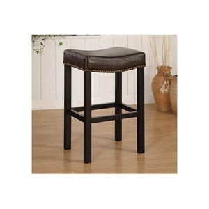 Tudor Backless 30-Inch Stationary Barstool in Antique Brown Leather with Nailhead Accents