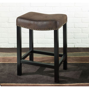 Tudor Backless 26-Inch Stationary Barstool Covered in a Wrangler Brown Fabric w/ Nailhead Accents