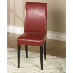 Red Leather Side Chair, Set of Two