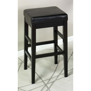 Sonata 26-Inch Stationary Black Leather Barstool
