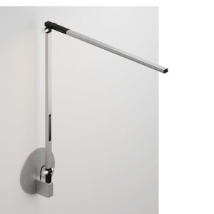 Z-Bar Silver LED Solo Desk Lamp with Hardwire Wall Mount